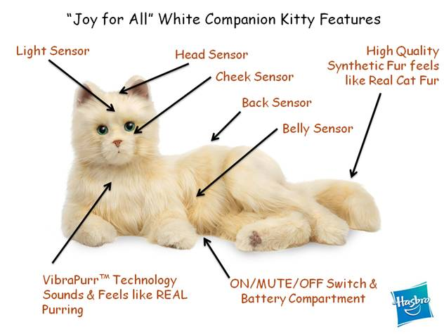 Hasbro Companion Fluffy White Robot Cat Features