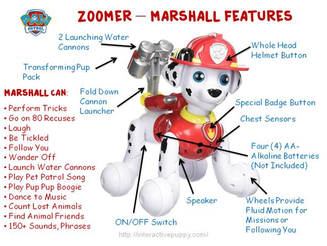 Paw Patrol Zoomer Marshall Features